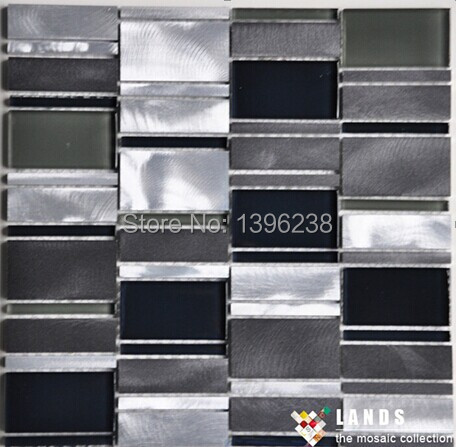 aluminium glass mosaic tiles,glass mosaic tiles for wall,new metal glass mosaic tiles LSALC03