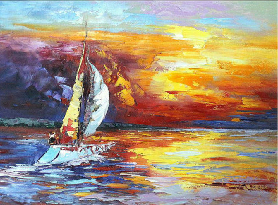 Top Artist Handmade High Quality Impression Knife Landscape Oil Painting On Canvas Sunset Landscape And Shipping Boat Painting(China (Mainland))