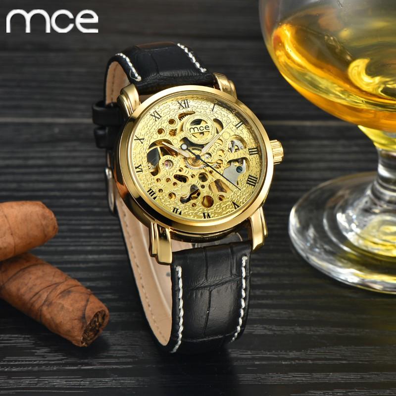 MCE Новый Люксовый бренд часы Стимпанк Скелет Мужской Часы Кожаный Ремешок Моды Случайные Часы Relogio мужской Механические Часы