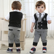 brand Children's clothing sets Baby Boy's suit sets kids gentleman suit 100% cotton clothing shirts +trousers +tie freeshipping(China (Mainland))