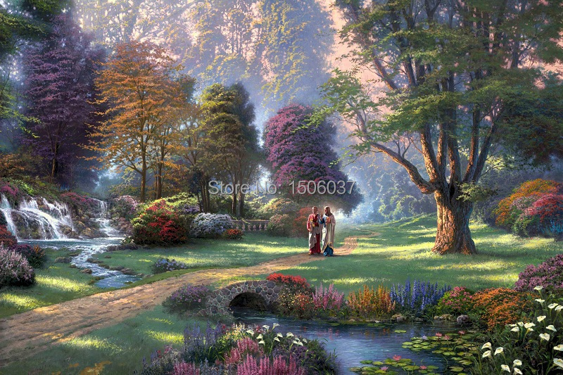Free shipping printed Thomas Kinkade landscape oil painting on canvas beautiful nature wall art for living room home deco TM-014(China (Mainland))