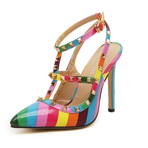 Women Pumps 2015 Fashion Brand Designer Shoes Woman Sandals Rainbow Colors Rivets High Heels Shoes Summer Style Sapato Feminino(China (Mainland))