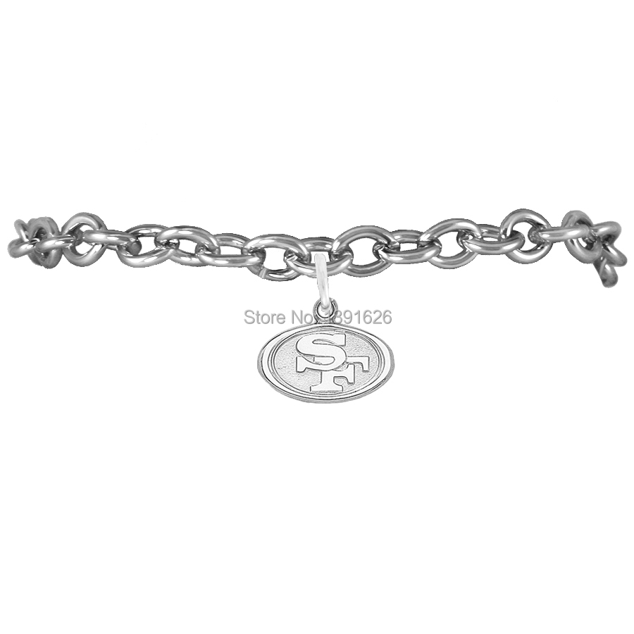 30pcs Cheap San Francisco 49ers Pendant Tone Link Chain Bracelet Custom Znic Alloy Rhodium Statement Charms Bracelets For Women(China (Mainland))