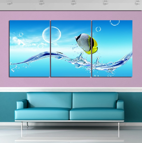 3 Panel Hot Sell Modern Wall Painting Home Decorative Art Picture Paint on Canvas Prints The beautiful fish and bubbles(China (Mainland))