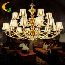 copper lamps whole project in the lobby chandeliers ceiling 18 head lights living room lights Villa chandelier led e27(China (Mainland))