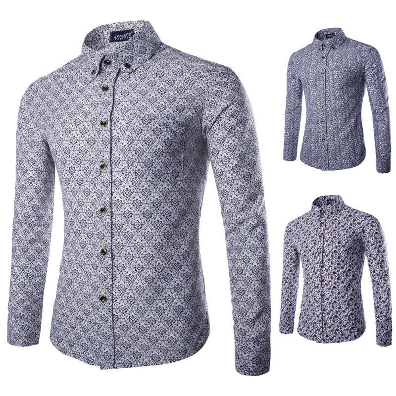 High quality floral print mens tuxedo shirts slim fit for Men s wedding dress shirts