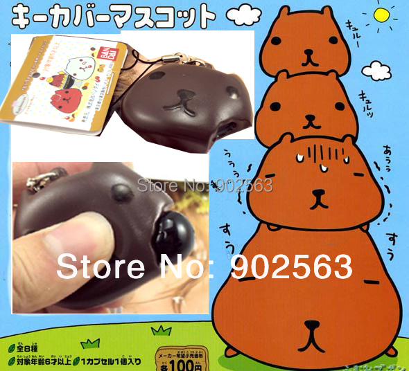 2014 new arrival tokyo RARE anime kapibarasan phone food straps quishy charms squeeze toy+tag chocolate 10pcs/lot freeshipng(China (Mainland))