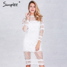 Simplee Hollow out white lace dress Women autumn winter long sleeve sexy dress Elegant evening party black dresses vestidos(China (Mainland))