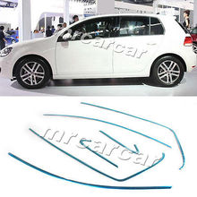 Car Window Auto Molding Trim Stips 6pc Fit For VW Golf 7 VII MK7 Stainless Steel