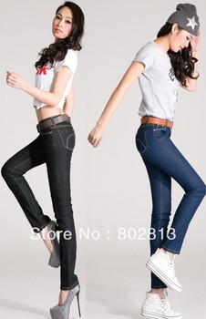 Clearance Sale Brand new Skinny Jeans Raises Hip Slim Pencil New Fashion Jean Show body Blue Black  Free Shipping