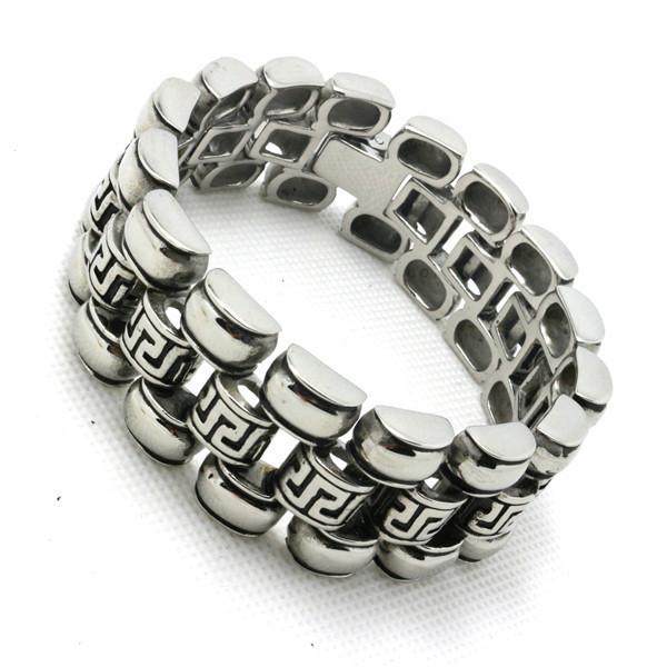 Guarantee 100% Mens boys 316L Stainless Steel Cool Silver Polishing Bracelet Biker Motorcycle Style<br><br>Aliexpress