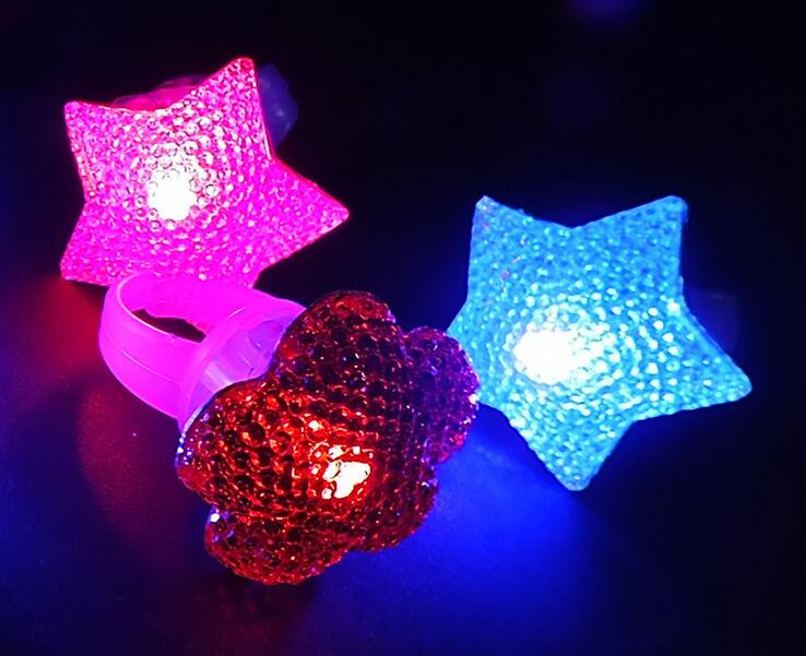 Event & Party Supplies LED Light star Flashing Finger Ring, Elastic Rubber Ring, Event Party Supplies Glow Toys 50pcs/lot(China (Mainland))