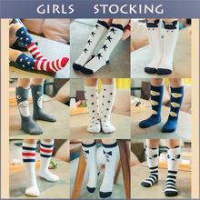 Brand Designer Soft 100% Cotton Girls/Boys Socks Stripe Geometry Animal Pattern Cartoon Cute Kids Long Socks Baby Leg Warmers(China (Mainland))