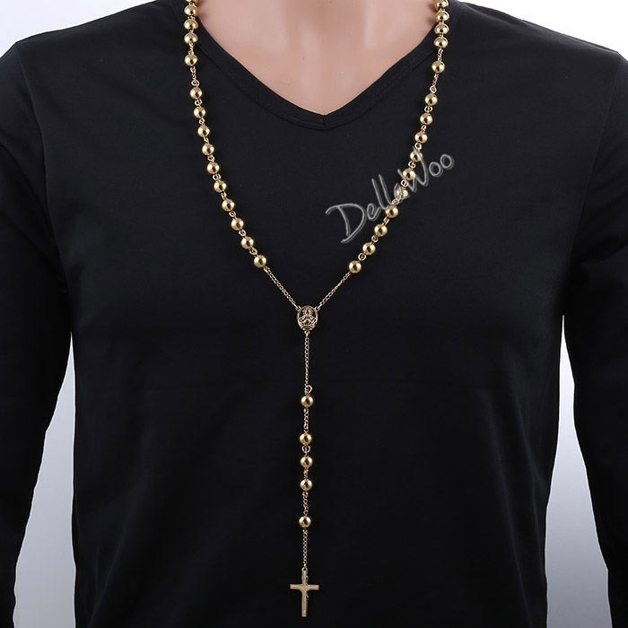 4/6/8/10mm Men Chain Sliver Gold Tone Stainless Steel Bead Chain Crown Rosary Jesus Christ Cross Pendant Long Necklacce DKNL1364(China (Mainland))