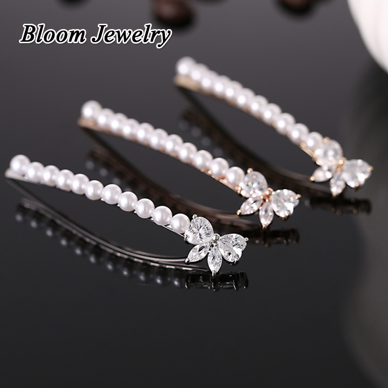 2015 New delicate and beautiful single-row pearl bow hairpin zircon gold plated Hairwear hot selling(China (Mainland))