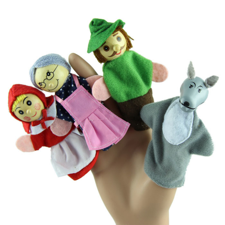 Delicate 4PCS/lot Little Red Riding Hood Christmas Animal Finger Puppet Story Toys Hot Selling(China (Mainland))