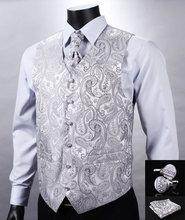 VE12 Silver Gray Paisley Top Design Wedding Men 100%Silk Waistcoat Vest Pocket Square Cufflinks Cravat Set for Suit Tuxedo(China (Mainland))