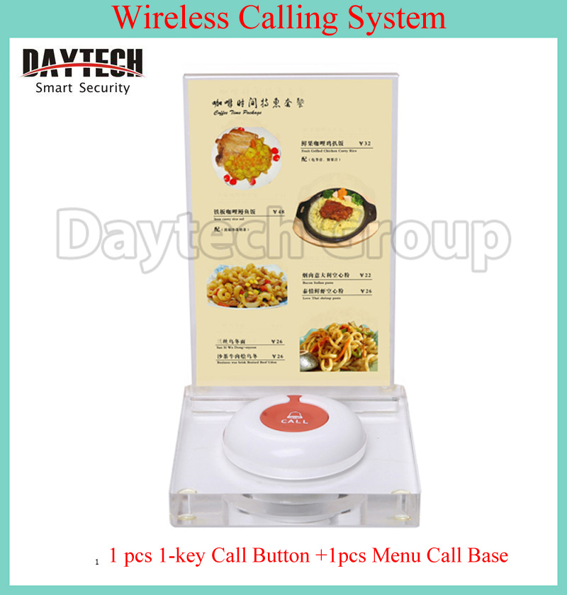 Wireless pager system table menu holder call button base for Table 9 menu