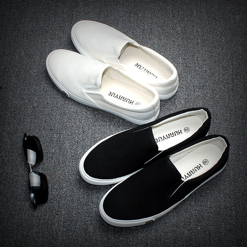 summer mens shoes white canvas low lazy shoes flats causal