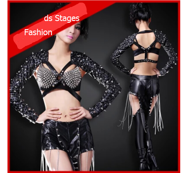 Europe and the United States a new nightclub bar Ms. ds cool suit female clothing rivet fission stage costumes dance performance(China (Mainland))