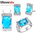 Uloveido 2016 Women Sale ensembles de bijoux Pendant Earrings Ring Sets Blue Purple Crystal Bridal Sapphire