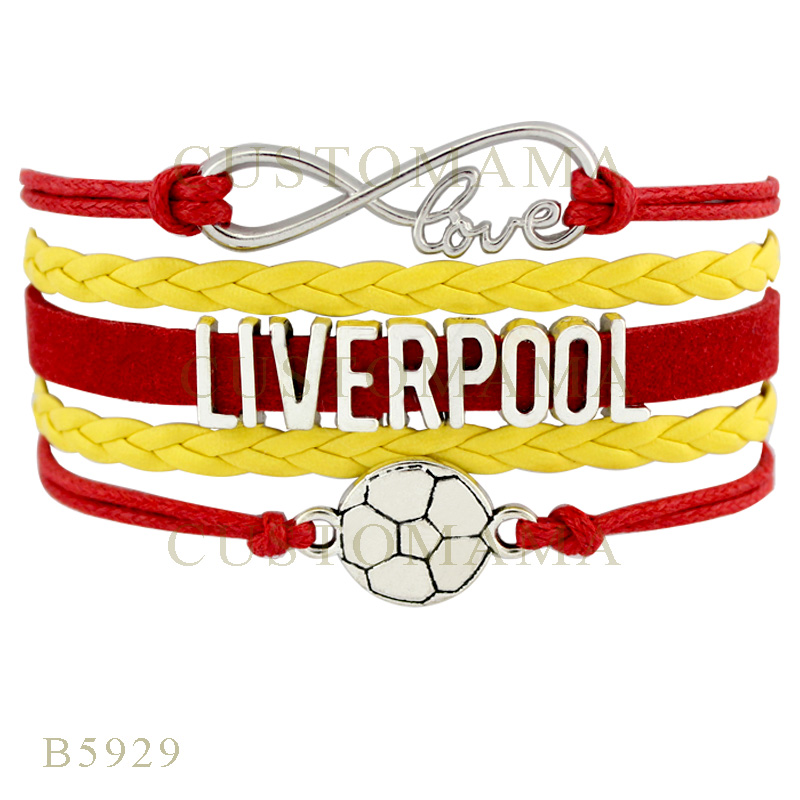 Custom-Infinity Love Liverpool Soccer Football Charms Bracelets Gifts Bracelets Red Yellow Leather Jewelry Womens Bracelets(China (Mainland))