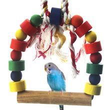 FW1S animali domestici budgie pappagallo uccello rotondo in legno scaletta battente corda giocattolo(China (Mainland))