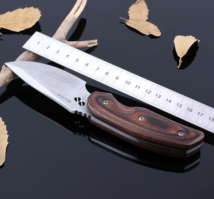 Buy BUCK 076 Fixed Blade Knife Stainless Steel Tactical Hunting Knife Household Outdoor Survival Camping Tool Wood Handle cheap