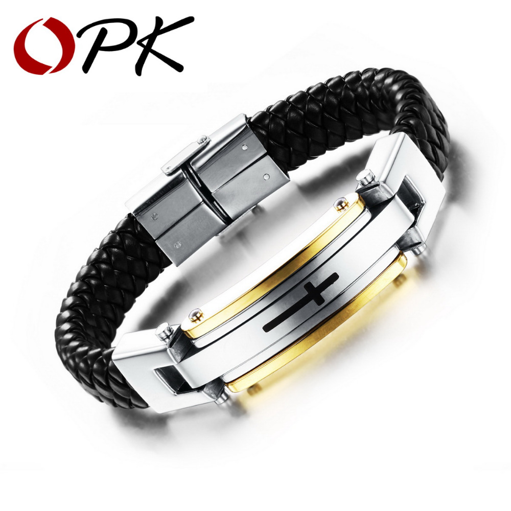 OPK Man's Leather Wrap Bracelets Casual Stainless Steel Cross Design Men's Sproty Jewelry New Fashion High Quality PH916J(China (Mainland))