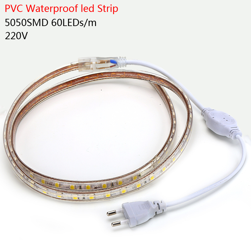 SMD 5050 Waterproof AC 220V led strip flexible light 1M/2M/3M/4M/5M/6M/7M/8M/9M/10M/15M/20M +Power Plug,60leds/m free shipping(China (Mainland))