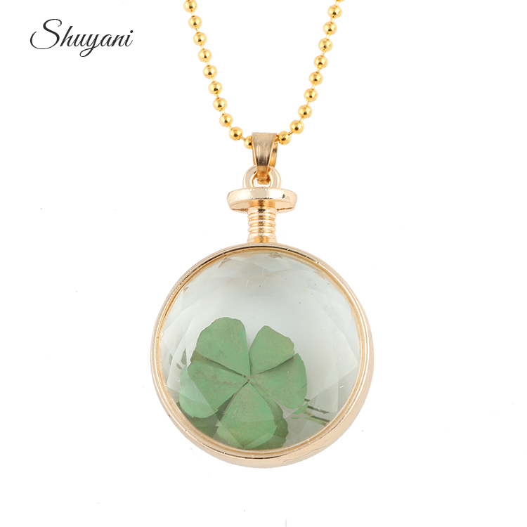 10Pcs/Lot Free Chains Round Shape Glass Memory Floating Locket Dried Flower Four Leaf Clover Pendant Chain Necklace For Women