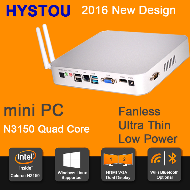 2016 Newest Fanless Mini PC Windows 8 Barebone Desktop Computer Linux Server Intel Celeron N3150 Quad Core WiFi HDMI VGA 1080P(China (Mainland))