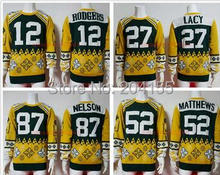 2016 NEWEST Busy Block Ugly 12 Aaron Rodgers 27 Eddie Lacy Sweater 52 Clay Matthews 87 Jordy Nelson Sweaters Winter  Sweater