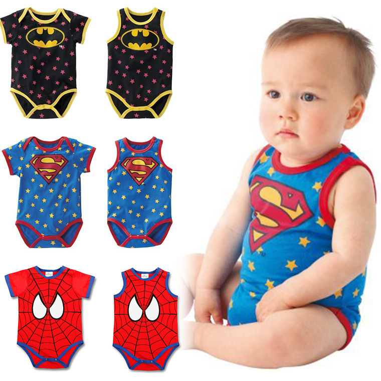 HOT SALE summer Batman sleeveless Superman short sleeved vest ha garments Batman spider-man BODYSUIT kid rompers <br><br>Aliexpress