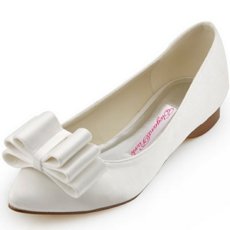 free shipping fc1406 white pointed toe bow comfortable
