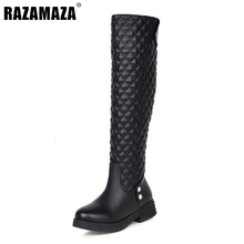 Buy Women Flat Knee Boots Ladies Riding Fashion Long Snow Boot Warm Winter Brand Botas Female Footwear Shoes Size 34-40 K00047 for $30.99 in AliExpress store