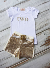 Birthday Outfit- Baby Girls Birthday Clothes- Cake Smashing Outfit-Gold shirt and Sequin Shorts- Glitter Gold Birthday Shirt