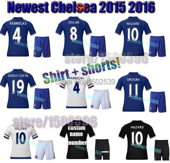 Promotion! yokohama tyres Chandal futbol 2016 Chelsea jersey set,camiseta equipacion white Chelsea 2016 football kits for men(China (Mainland))
