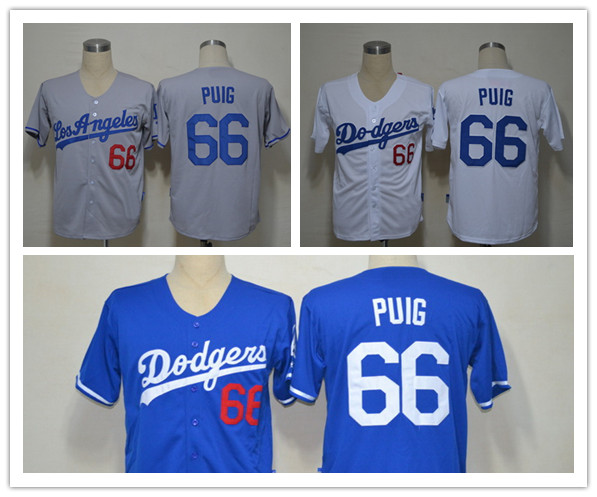 Promotion Los Angeles Dodgers 66 Yasiel Puig Jersey White Grey Blue Embroidery New Baseball Jerseys Top Quality(China (Mainland))