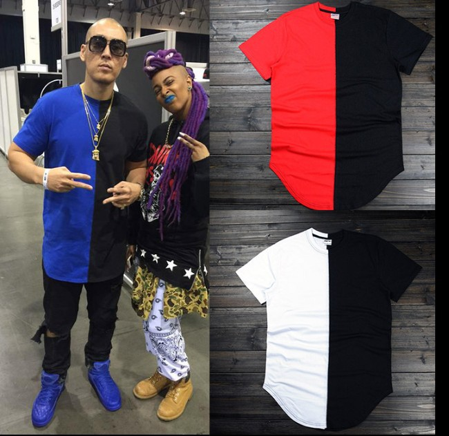 2015 Hiphop Fashion Tyga Style Unisex Men Red Black Blue White Extended T Shirt Tops Tee Pyrex