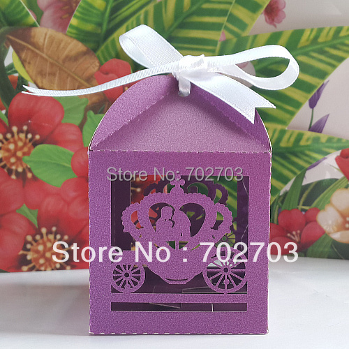 FEDEX Free shipping 600 pcs/lot Wedding Party Purple Pumpkin Coach Pearl Paper Laser Cut Candy Box(China (Mainland))