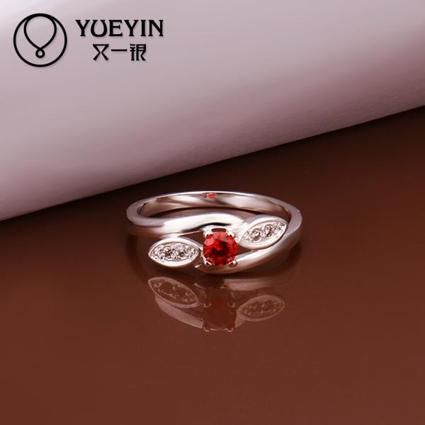 R288 Promotion Korean Elegant Imitation Ruby 925 Sterling Silver Rings For Women Wedding Engagement Ring For