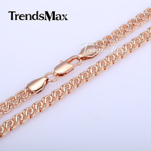 7MM Wide Womens Mens Chain Unisex Boys Girls Snail Link Rose Gold Filled Necklace Chain Fashion Gift Bulk Sale Jewelry GN326(Hong Kong)