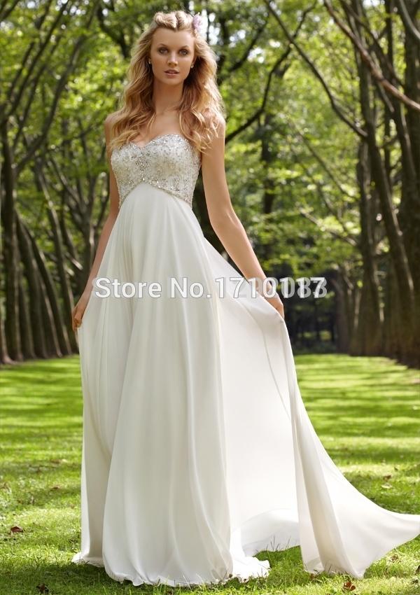 Elegant chic sweetheart crystals beaded a line chiffon for Chiffon sweetheart wedding dress