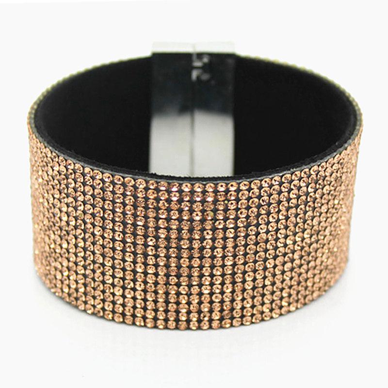 Womens Fashion Elegant Wristband Bangle Crystal Cuff Bracelet Bling Hand Chain Bracelet