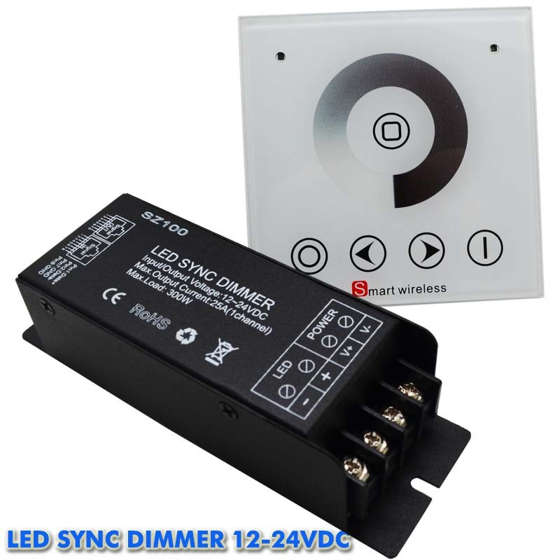 1pcs AC 220V1 Channel Max 25a Wall Mounted RF Wireless Touch Panel Led Dimmer Remote Controller 300w For Single Color Led Light(China (Mainland))