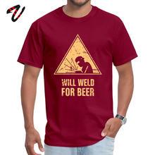 Herren T-Shirt Wird Weld Für Bier Lustige Tops & Tees 100% Cosplay Stoff O Neck Kurze Lil Pumpe Design T-shirts tag der arbeit(China)