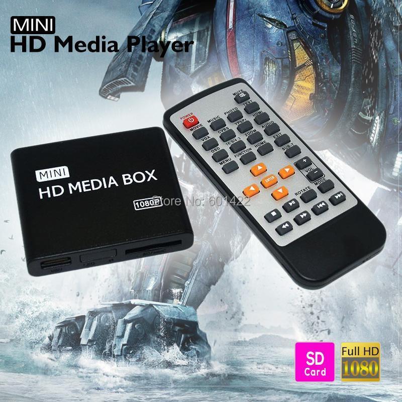 Multimedia Mini Full HD Media Player 1080P HD TV BOX Support HDMI MKV RM SD USB SDHC MMC HDD-HDMI With Remote Control<br><br>Aliexpress