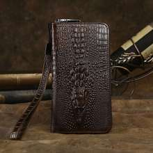 Aaron Brand New Alligator Pattern Men s Genuine Leather Clutches Crazy Horse Leather Casual Men Wallet