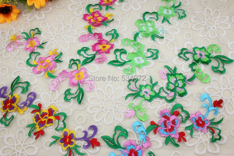 Special cloth post Chinese wind stage accessories DIY handmade embroidery size peony pyrograph cheongsam Applique(China (Mainland))